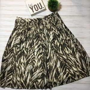 Talbots pleated A line animal print skirt
